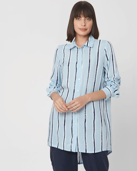 Light Blue Striped Tunic