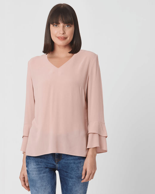 Light Pink Flute Sleeves Top