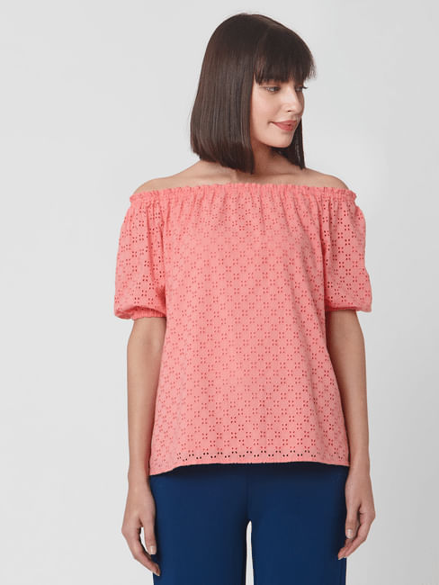 Coral Cut Work Off Shoulder Top