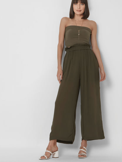 Green High Rise Wide Leg Pants