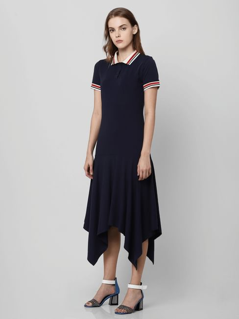 Navy Blue Straight Fit Cotton Dress