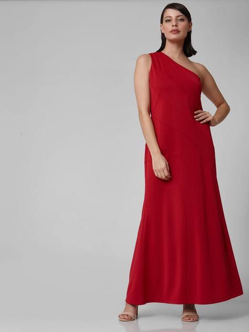 Red One Shoulder A-Line Maxi Dress