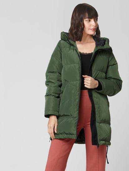 Green High Neck Hooded Puffer Jacket