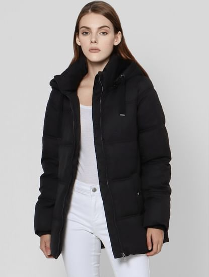 Black High Neck Hooded Puffer Jacket