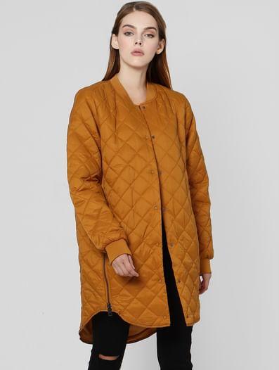 Brown High Neck Puffer Jacket