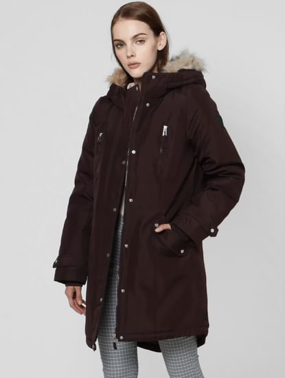Plum Fur Hooded Parka Jacket
