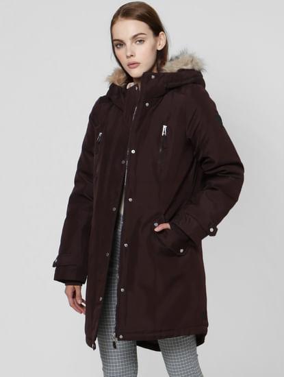 Plum Fur Hooded Parka Jacket