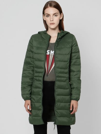 Green Hooded Puffer Jacket