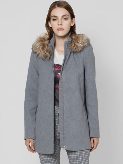 Grey Wool Fur Hooded Jacket