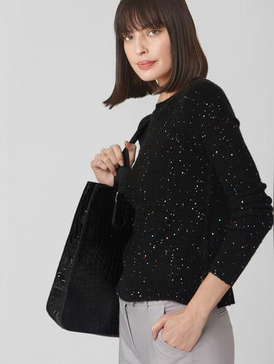 Black Sequin Sweater