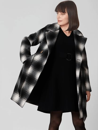 Monochrome Check Coat