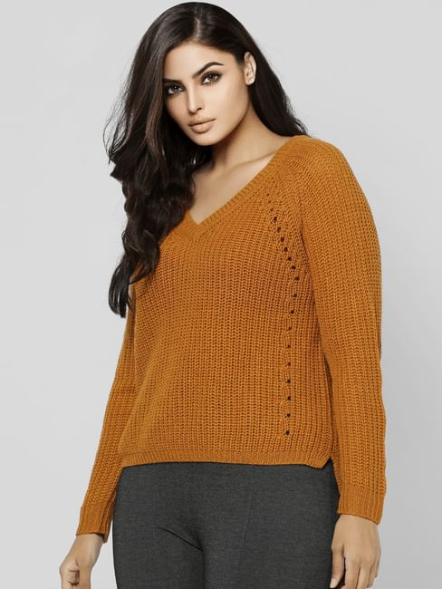 Curve Brown Knit Pullover