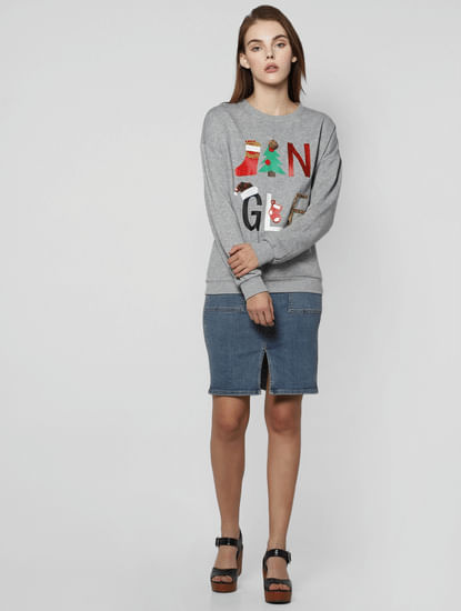 Grey Jingle Graphic Print Sweatshirt
