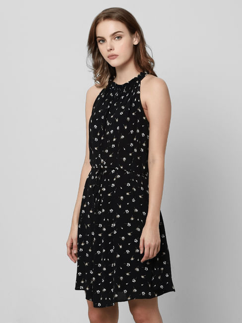 Black All Over Print Skater Dress