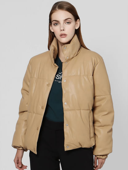 Tan Short Puffer Jacket