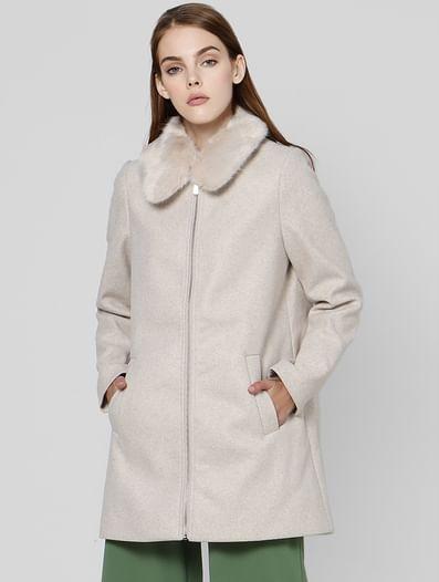 Beige Fur Hooded Jacket