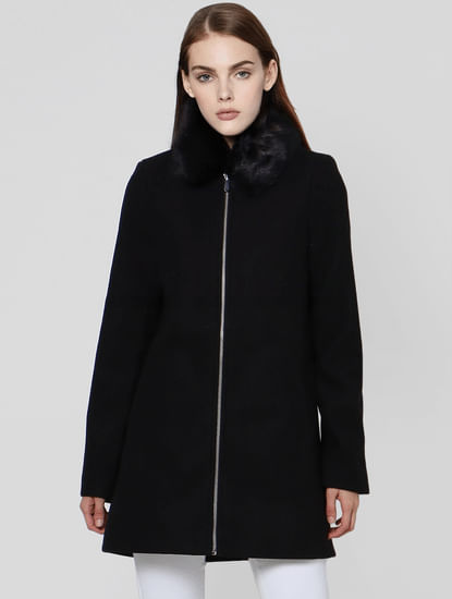 Black Fur Hooded Jacket