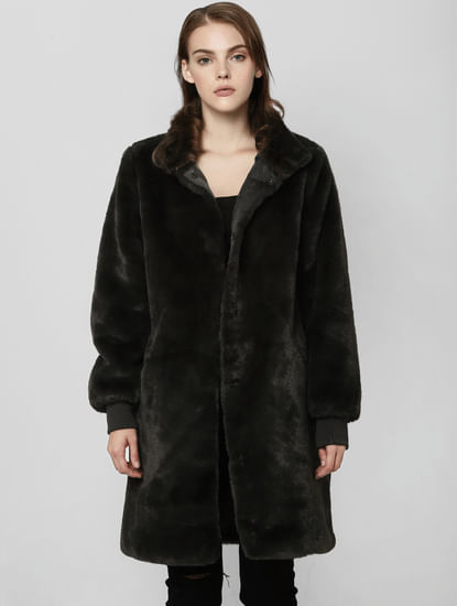 Black Faux Fur Long Jacket