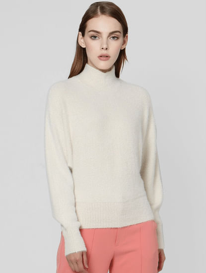 Beige Batwing High Neck Pullover