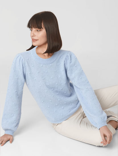 Blue Embroidered Pullover