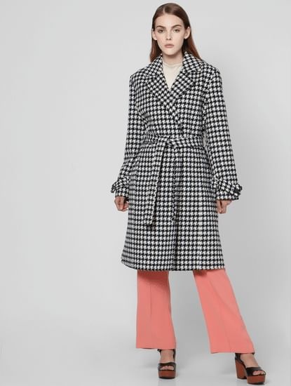 Black HoundstoothLong Coat