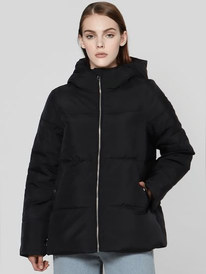 Black Hooded High Neck Puffer Jacket