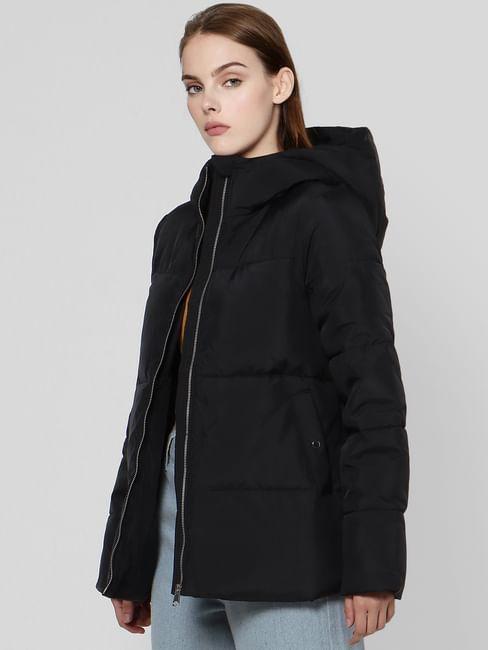 Black Hooded High Neck Puffer Jacket