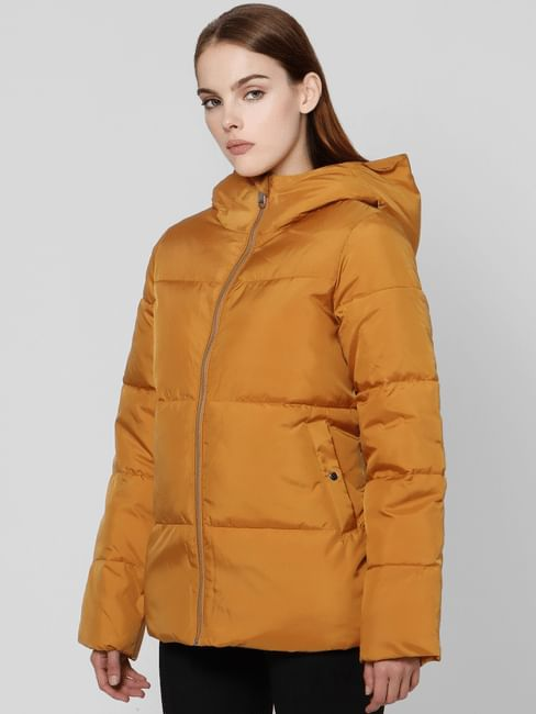 Brown Hooded High Neck Puffer Jacket