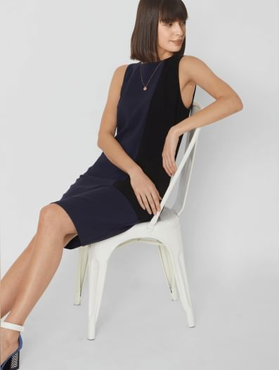 Blue Colourblocked Shift Dress