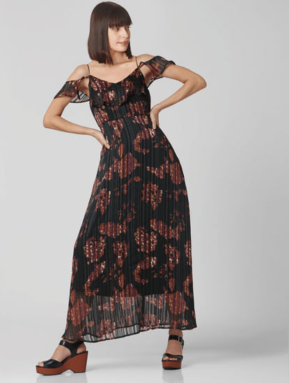 Black All Over Print Maxi Dress