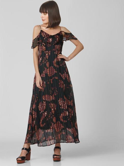 Black All Over Print Maxi Dress