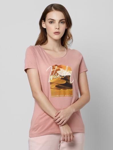 Pink Graphic Print T-shirt