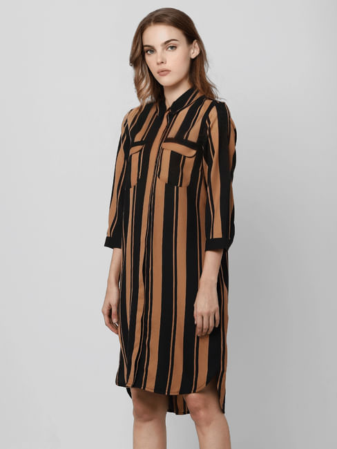 Black Striped Midi Shirt Dress