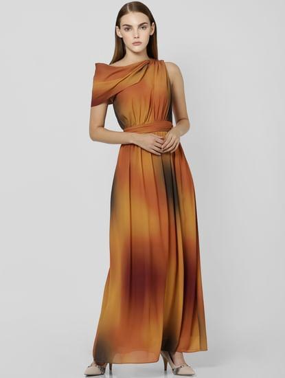 Brown One Shoulder Maxi Dress