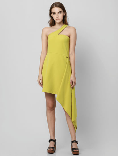Lime Green One Shoulder Sheath Dress