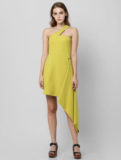 Lime Green One Shoulder Sheath Dress