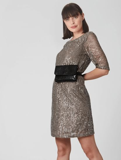 Grey Sequin Shift Dress