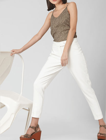 White Mid Rise Straight Fit Pants