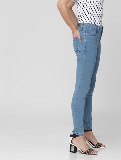 Light Blue Mid Rise Skinny Jeans