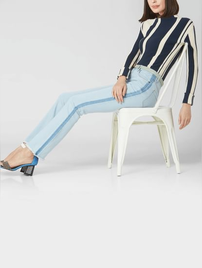 Light Blue Mid Rise Side Wash Boot Cut Jeans