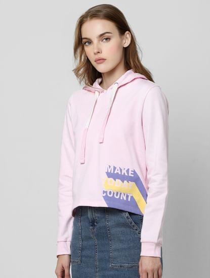 Pink Slogan Print Hooded Sweatshirt
