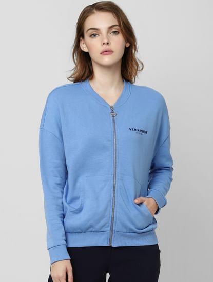 Light Blue Logo Print Sweatshirt