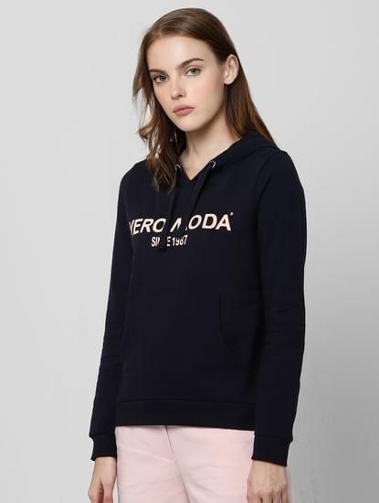 Black Logo Print Hooded Sweatshirt