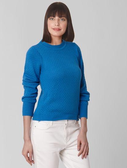 Dark Blue Textured Pullover