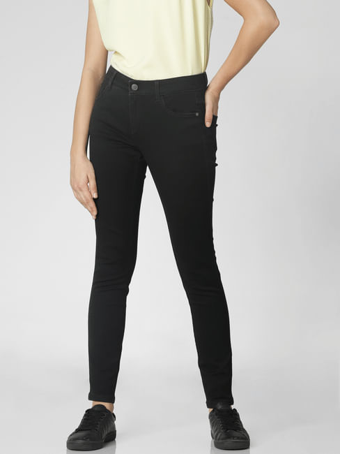 Black Mid Rise Ankle Length Skinny Fit Jeggings