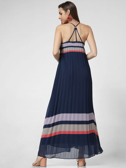 Navy Blue Pleated Maxi Dress