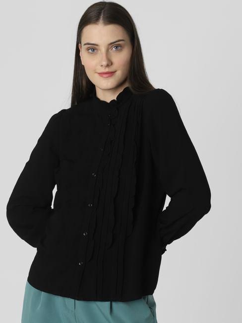 Black Frill Front Shirt