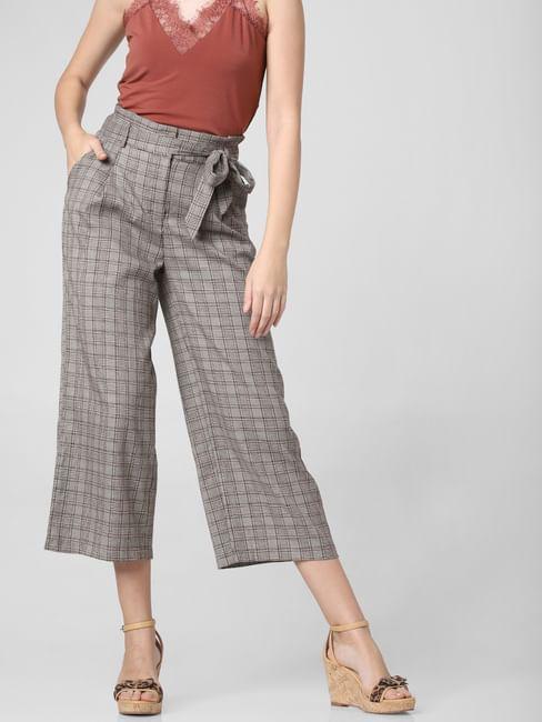 Grey Check Paperbag Waist Culottes