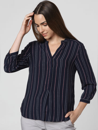 Navy Blue Striped Asymmetric Top