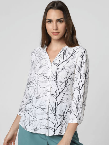White All Over Print Asymmetric Top